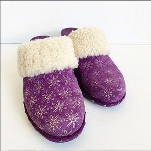 Isaac Mizrahi Live Purple Oak Suede Clog Heels